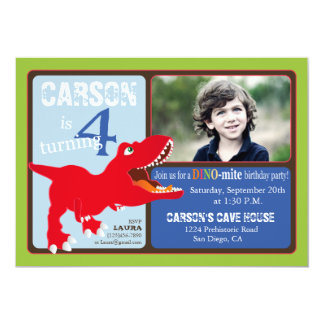 Red T-Rex Dinosaur Fourth Birthday Invitation Card