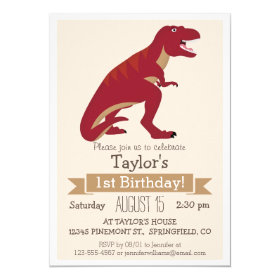 Red T-Rex Dinosaur Kid's Birthday Party Invitation 5