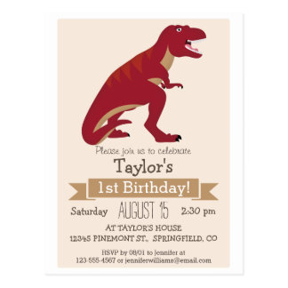 Red T-Rex Dinosaur Kid's Birthday Party Invitation Postcard