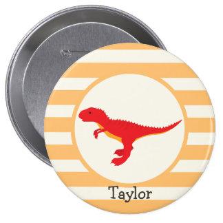 Red T-Rex Dinosaur; Orange Stripes Pinback Buttons