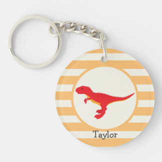 Red T-Rex Dinosaur; Orange Stripes Double-Sided Round Acrylic Keychain