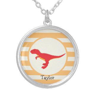 Red T-Rex Dinosaur; Orange Stripes Round Pendant Necklace