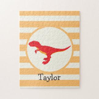 Red T-Rex Dinosaur; Orange Stripes Puzzles