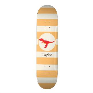 Red T-Rex Dinosaur; Orange Stripes Skateboard Deck