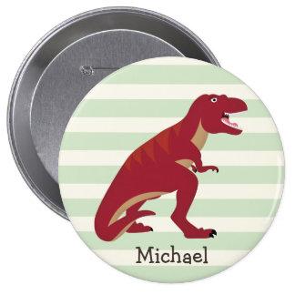 Red T-Rex on Pastel Green Stripes 4 Inch Round Button