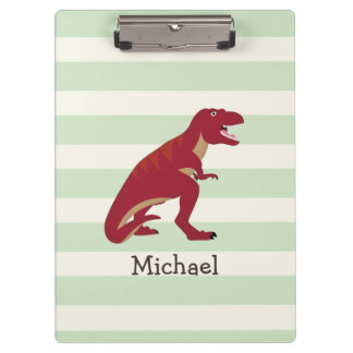 Red T-Rex on Pastel Green Stripes Clipboard