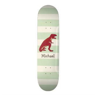 Red T-Rex on Pastel Green Stripes Custom Skateboard