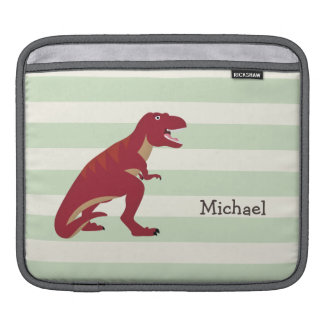 Red T-Rex on Pastel Green Stripes iPad Sleeves