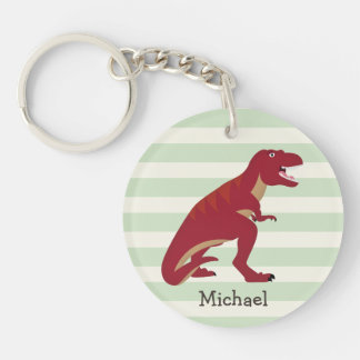 Red T-Rex on Pastel Green Stripes Double-Sided Round Acrylic Keychain