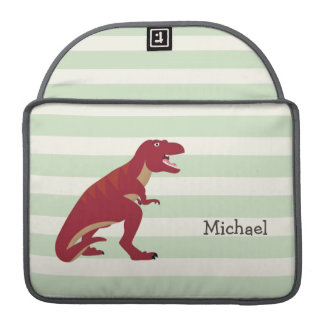 Red T-Rex on Pastel Green Stripes MacBook Pro Sleeves