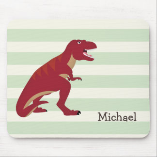 Red T-Rex on Pastel Green Stripes Mouse Pad