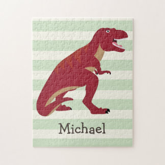 Red T-Rex on Pastel Green Stripes Puzzle