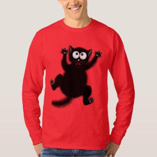 Red T-Shirt Funny Black Scared Cartoon Cat, kitten
