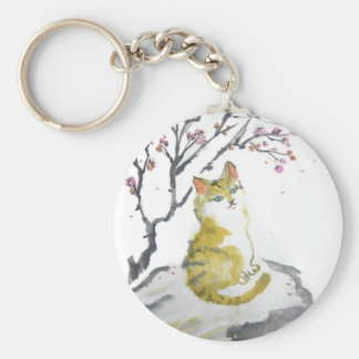 Red Tabby Cat and Plum Blossoms Keychain