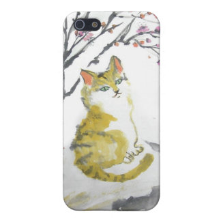 Red Tabby Cat and Plum Blossoms Speakers Cover For iPhone SE/5/5s
