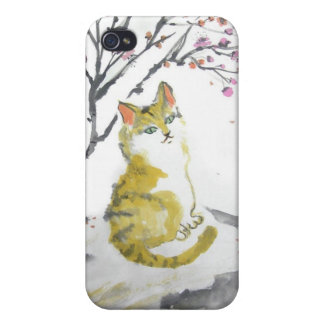 Red Tabby Cat and Plum Blossoms Speakers iPhone 4/4S Covers