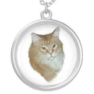 Red Tabby Maine Coon Round Pendant Necklace
