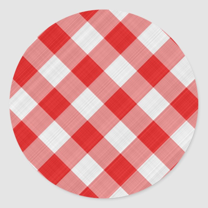 red table cloth classic round sticker