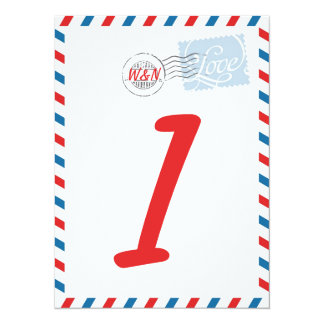 "Red Table Number Card Postal Service Collection 5.5"" X 7.5"" Invitation Card"