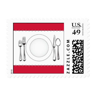 Red Table Scape Postage