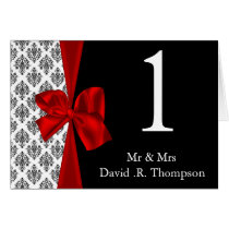 red table seating card