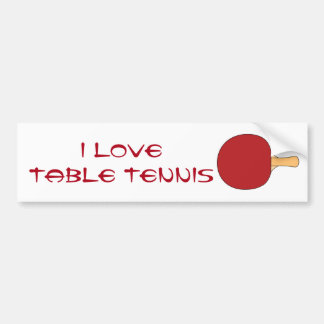 Red Table Tennis Racquet Bumper Sticker