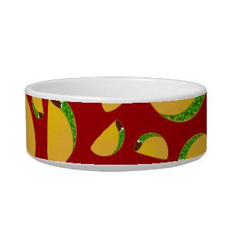 Red taco pattern pet bowl