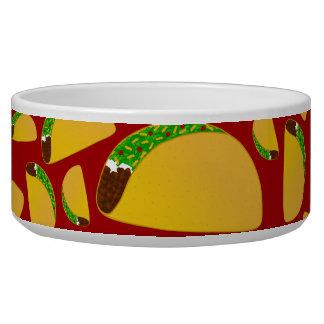 Red taco pattern pet bowls