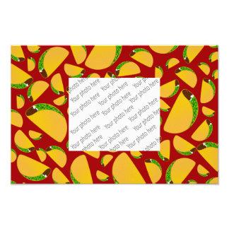 Red taco pattern photo print