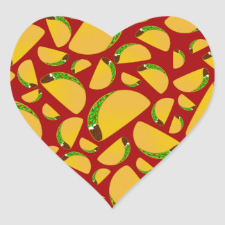 Red taco pattern heart sticker