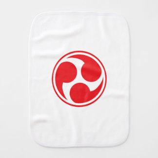 Red Taiko Mitsudomoe Baby Burp Cloth