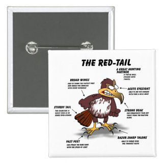 Red-tail Hawk Cartoon 2 Inch Square Button