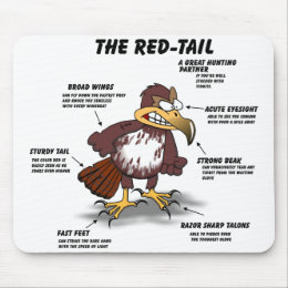 Red-tail Hawk Cartoon Mouse Pad