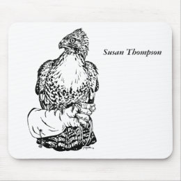 Red-tail Hawk on Glove Mouse Pad