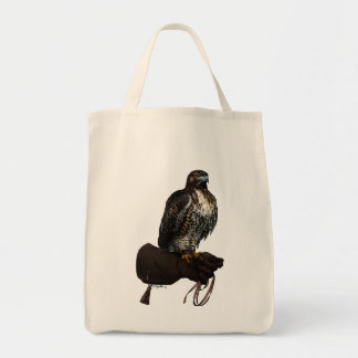 Red-tail Hawk on Glove Tote Bag