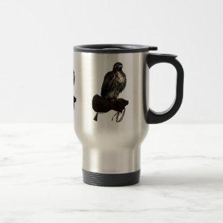 Red-tail Hawk on Glove Travel Mug