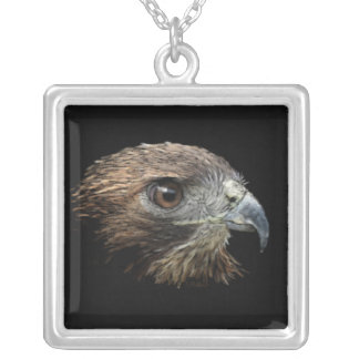 Red-tail Hawk pastel Square Pendant Necklace
