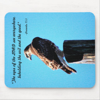 Red Tail Hawk - Proverbs 15:3 Mouse Pad