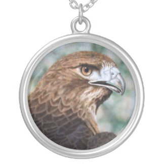 Red-tail Hawk Round Pendant Necklace