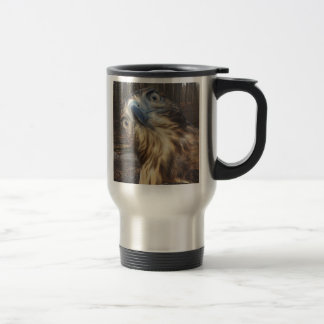 Red tail hawk travel mug