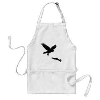 Red tail on squirrel silouette adult apron