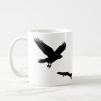 Red tail on squirrel silouette coffee mug