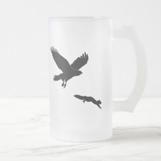 Red tail on squirrel silouette frosted glass beer mug
