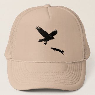 Red tail on squirrel silouette trucker hat