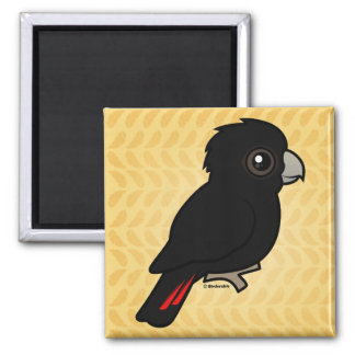 Red-tailed Black Cockatoo 2 Inch Square Magnet