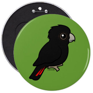 Red-tailed Black Cockatoo 6 Inch Round Button