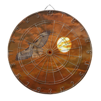 Red Tailed Hack and Red Skies Dartboard With Darts