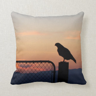 Red-tailed Hawk at Sunset Throw Pillows
