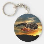 Red tailed hawk basic round button keychain