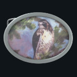 """Red Tailed Hawk Belt Buckle<br><div class=""""desc"""">From an original oil painting by Brenda Thour of a Red Tailed Hawk perched on a tree branch.  Created from a drawing I did when the Raptor Center came to the school I work at.  Copyright by Brenda Thour 2005.</div>"""